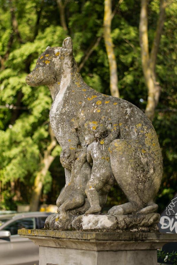 Florence Italien - 24 April, 2018: staty av Lupa i Florence royaltyfria bilder