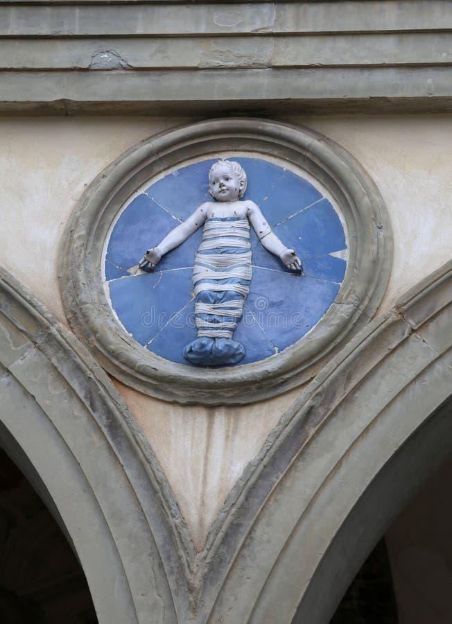 Florence Italien - Augusti 20, 2015: Detalj med en av tondien arkivfoton
