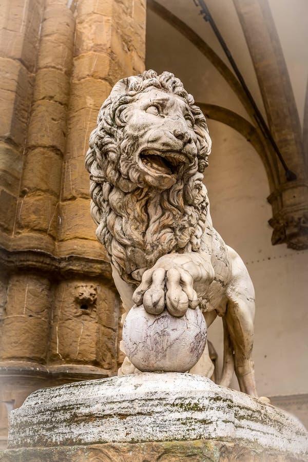 Florence Italien lejonstaty royaltyfri foto