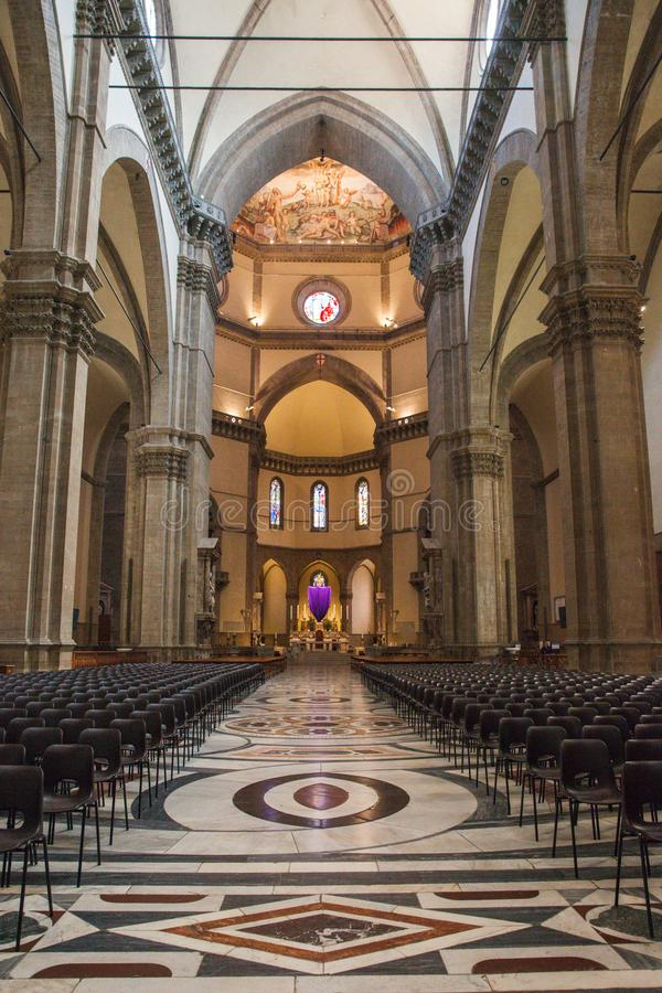 Interior of the Cathedral Santa Maria del Fiore Duomo in Flo royalty free stock photography