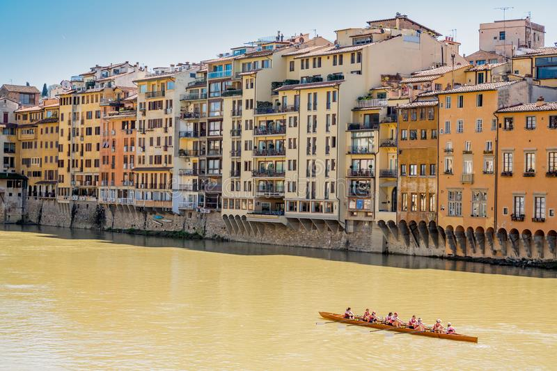 Florence, Italy  - April 6, 2018: Arno river canoeing stock photos