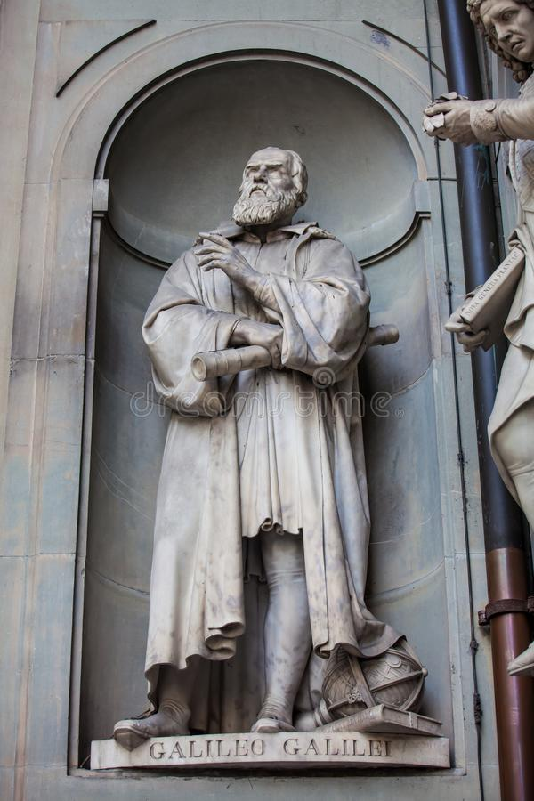Statue of Galileo Galilei at the courtyard of the Uffizi Gallery in Florence stock images