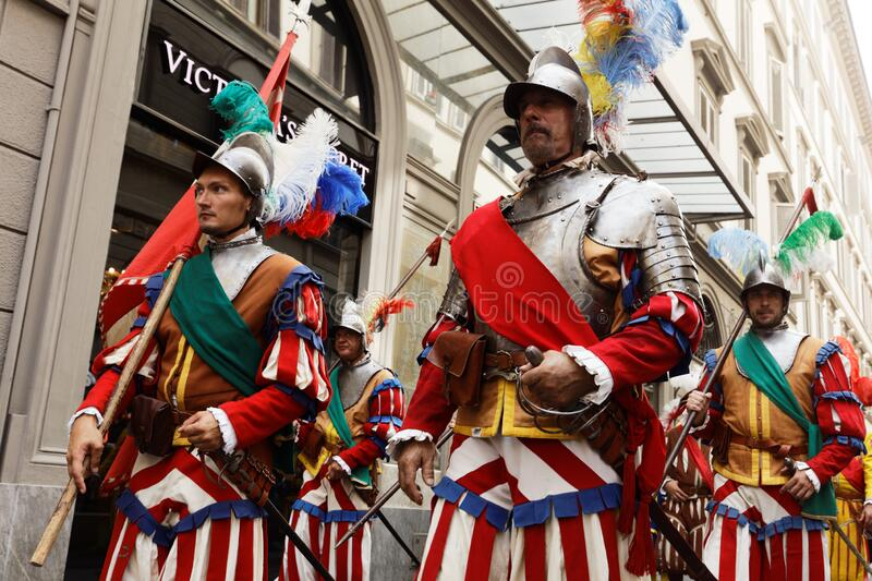 Historical parade in Florence, Italy stock photography