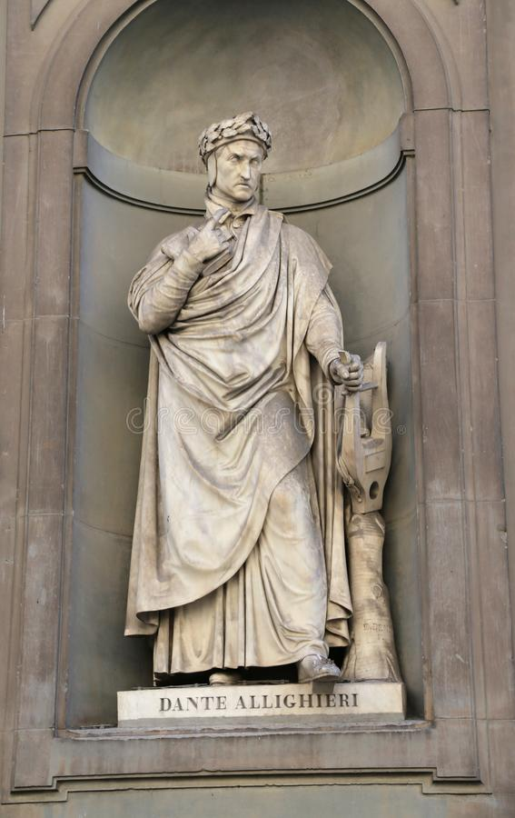 Florence, Italy - August 21, 2015: Old Statue of Dante Aligheri. Only editorial Use. Florence, Italy - August 21, 2015: Old Statue of Dante Aligheri a famous stock photos