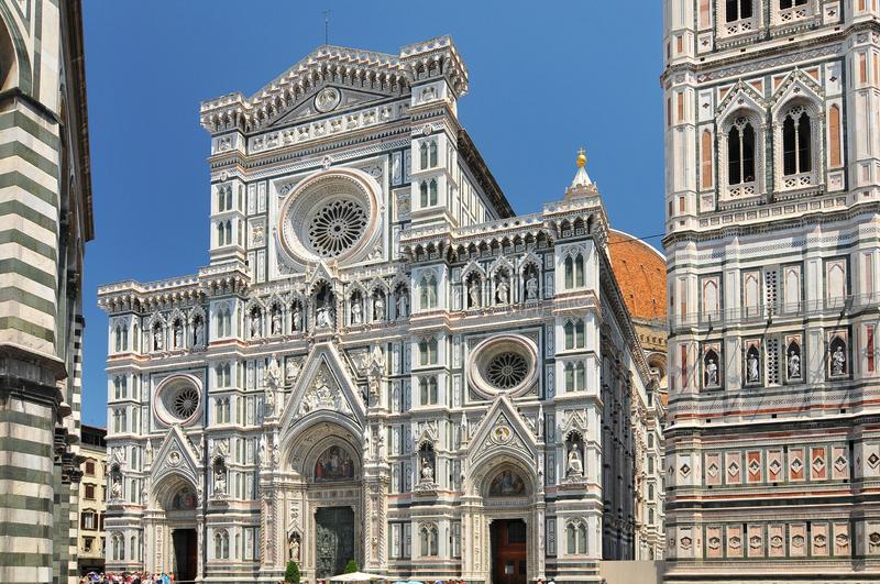 Florence, Italy. Cathedral of Santa Maria del Fiore, or The Duomo, seen from the Piazza San Giovanni.  stock images