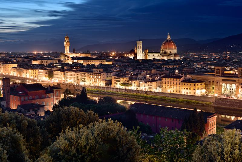 Florence, Italy. Cathedral, skyline at blue hour , night city scape. Panoramic view stock images