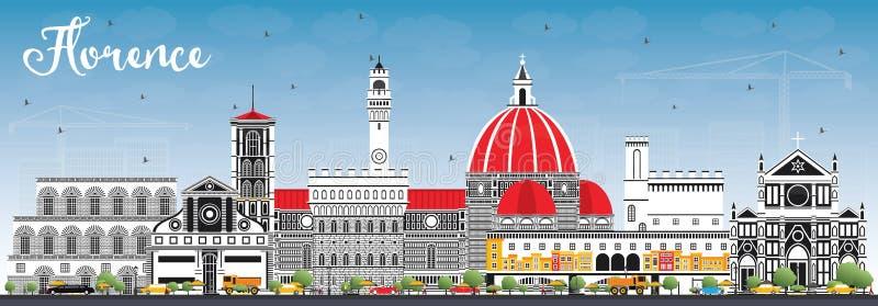 Florence Italy City Skyline met Kleurengebouwen en Blauwe Hemel royalty-vrije illustratie