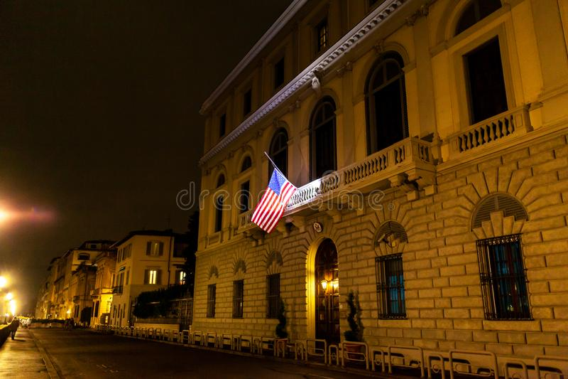 Consulate General of USA in Florence. Florence, Italy - December 22, 2018: Consulate General of United States of America at night royalty free stock photos
