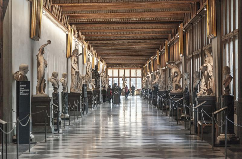 FLORENCE, ITALY, DECEMBER 6, 2017: Corridor at the Uffizi gallery in Florence royalty free stock photos