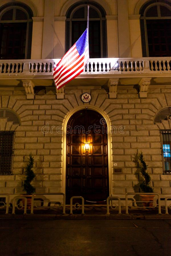 Consulate General of USA in Florence. Florence, Italy - December 22, 2018: Facade of Consulate General of United States of America at night stock photo