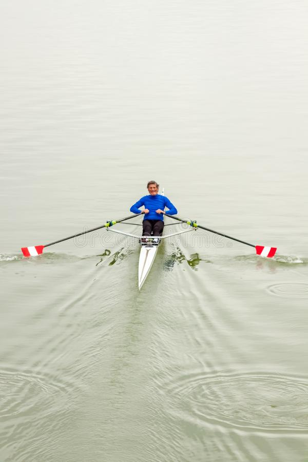 A Rower Exercising stock photo
