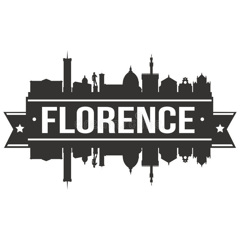Florence Italy Italia Euro Europe-Malplaatje van het Silhoueteditable van Pictogram het Vectorart design skyline flat city royalty-vrije illustratie