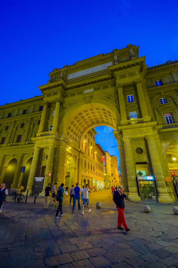 FLORENCE, ITALY - JUNE 12, 2015: The famouse arch of Triumph in Piazza della Repubblica or Republic Square. This is one royalty free stock photography