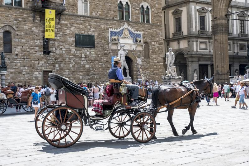 Typical florentine horse buggy call through the Plaza Signoria. Florence, Italy. June 1, 2018: Typical florentine horse buggy call through the Plaza Signoria stock photos