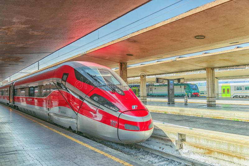FLORENCE, ITALY - MAY 15, 2017 : Modern high-speed passenger train stand on the Florence railways station-Firenze Santa Maria No stock image