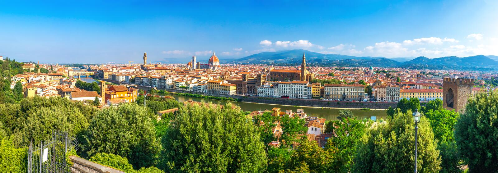 Florence, Italy. Panorama of Florence city on clear summer day. Panoramic view of Florence, Italy. Firenze cityscape royalty free stock photography