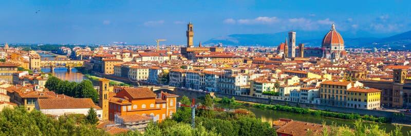 florence italy panorama H?rlig sikt av Florence Panorama- cityscape av italienare ner staden Florence royaltyfria bilder