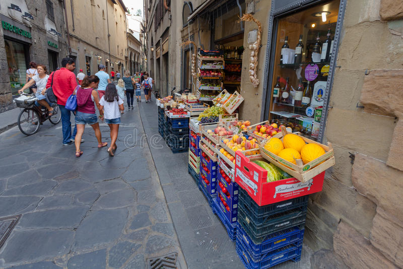 Florence, ITALY- September 10, 2016: The boxes and baskets of store (outdoor Fruit Shop Greengrocery) stock photo