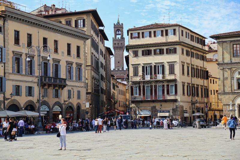 Tourists on the Piazza di Santa Croce in Florence, Italy royalty free stock photo