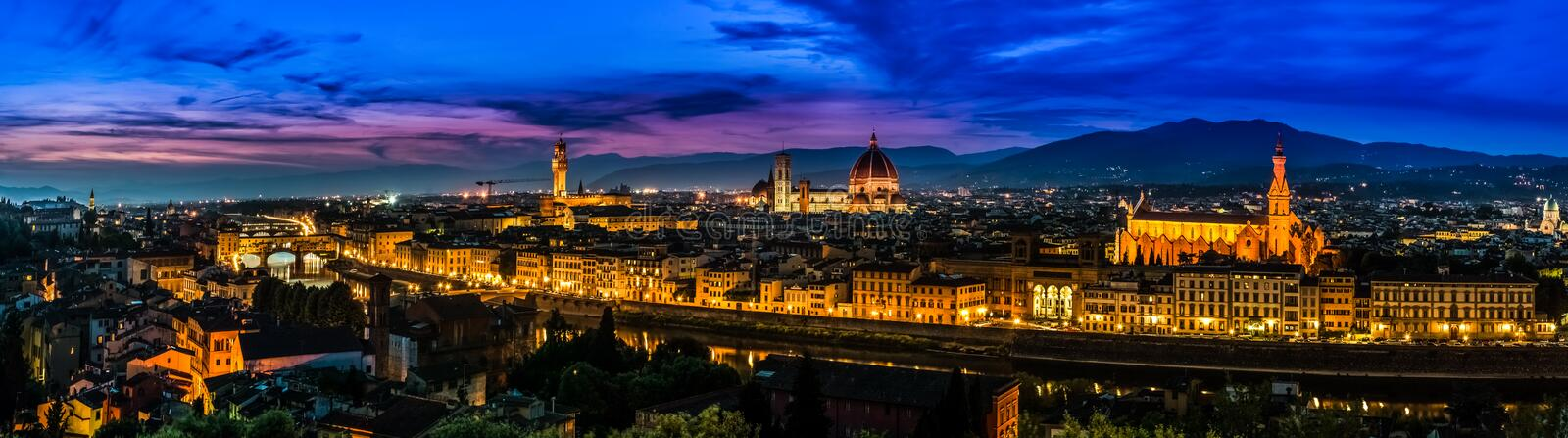 Florence, Italy - skyline view at twilight stock photos