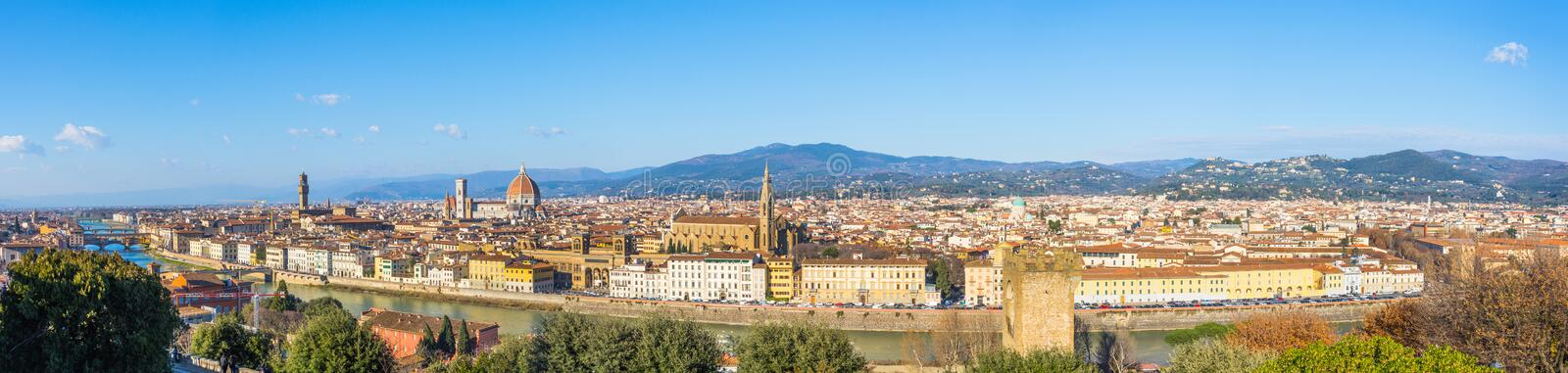 Florence Italy at sunny day cityscape aerial wide view panorama royalty free stock photos