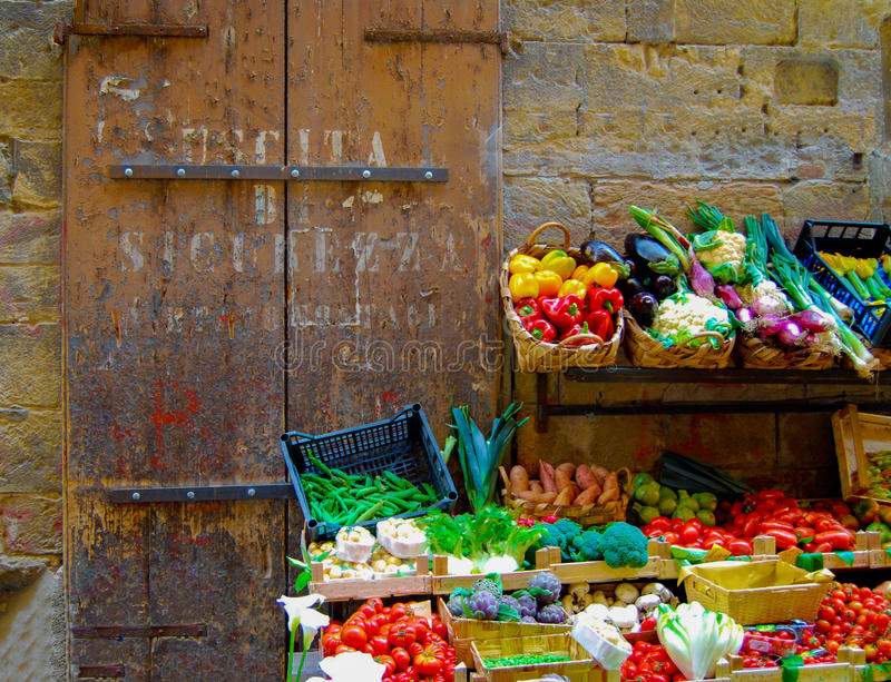 Florence Italy Vegetable Stand stock afbeeldingen