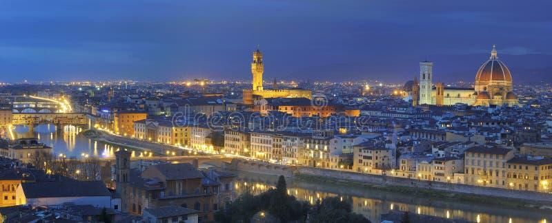 Florence large panorama by night royalty free stock photos