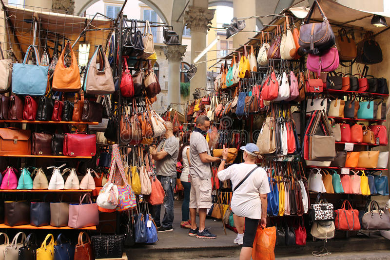 Florence market selling leather goods editorial photo for Dream store firenze