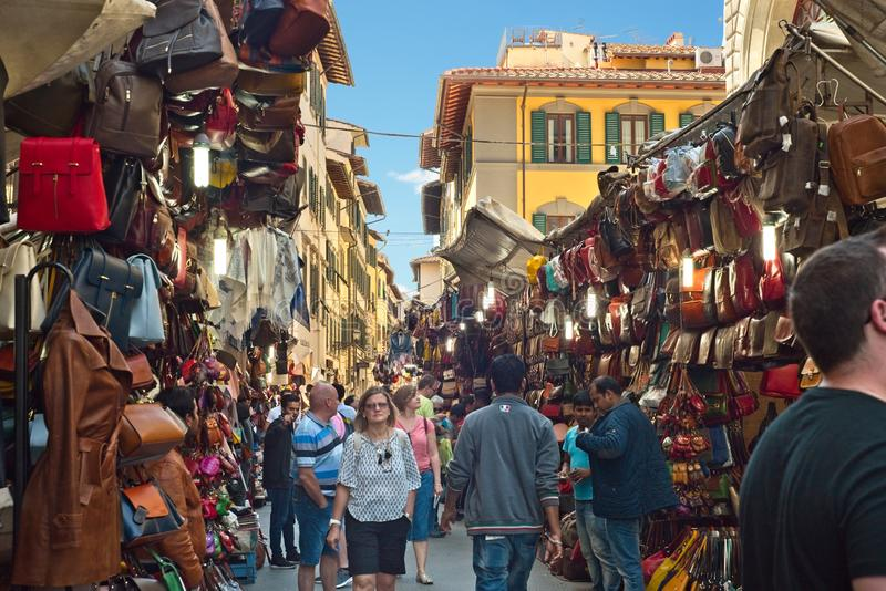 Florence Italy street market vendors stock images