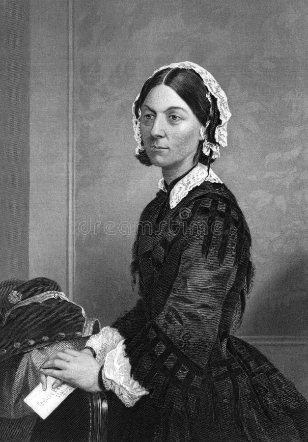 Florence Nightingale. (1820-1910) on engraving from 1873. Celebrated English social reformer, statistician and founder of modern nursing. Engraved by unknown
