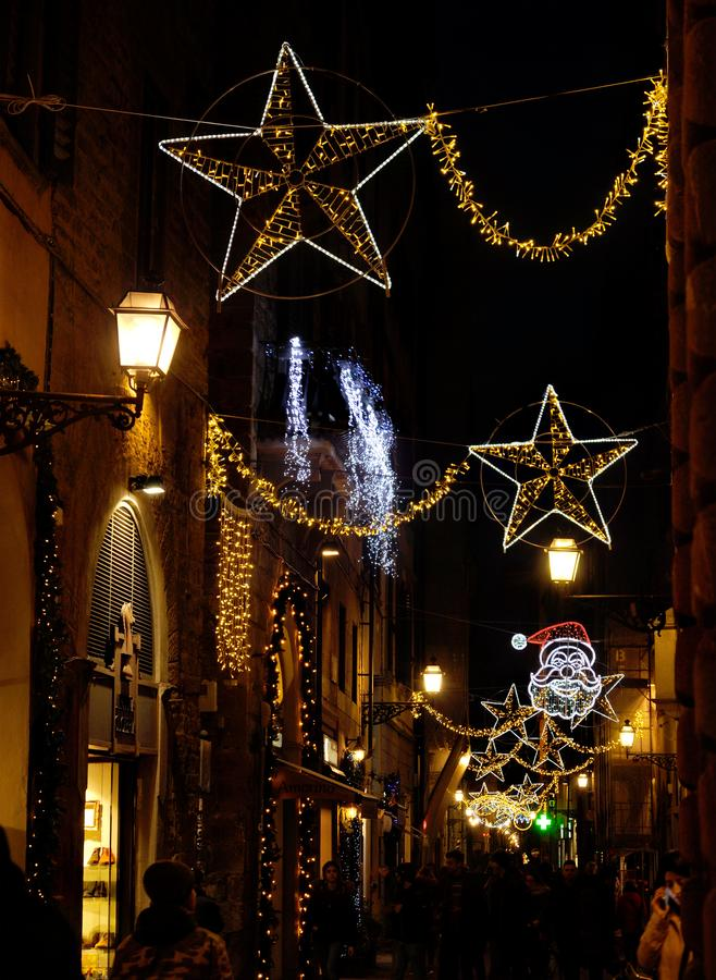 Florence November 2018: Christmas Lights Decorations in the centre of Florence, Italy. royalty free stock images