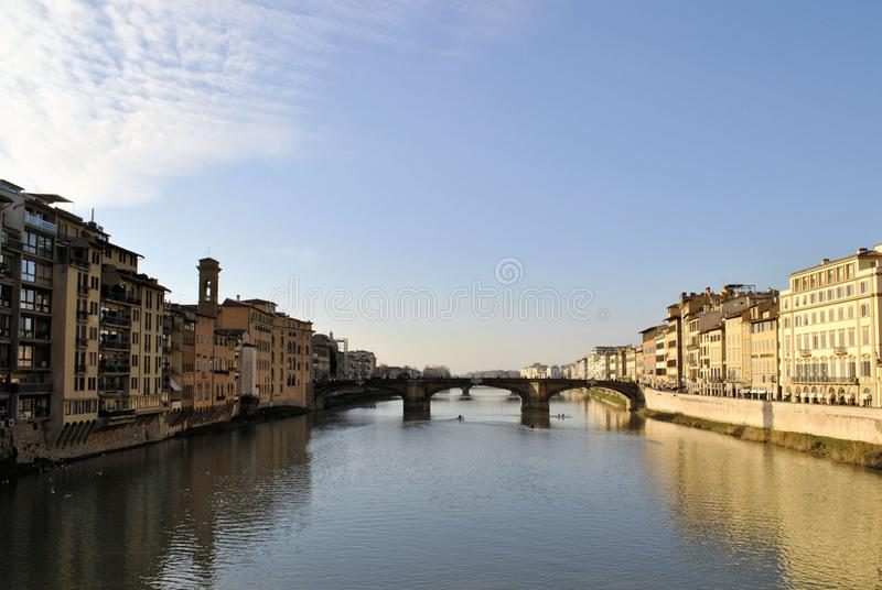 Florence old Italian town medieval buildings urban panorama beautiful river cityscape. Old medieval Italian town Florence city buildings urban exterior historic royalty free stock photography
