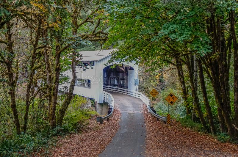 Wildcat Creek Covered Bridge in Oregon stock images