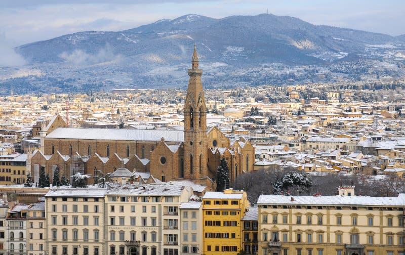 Florence på en snöig dag i vinter, Tuscany, Italien royaltyfri fotografi