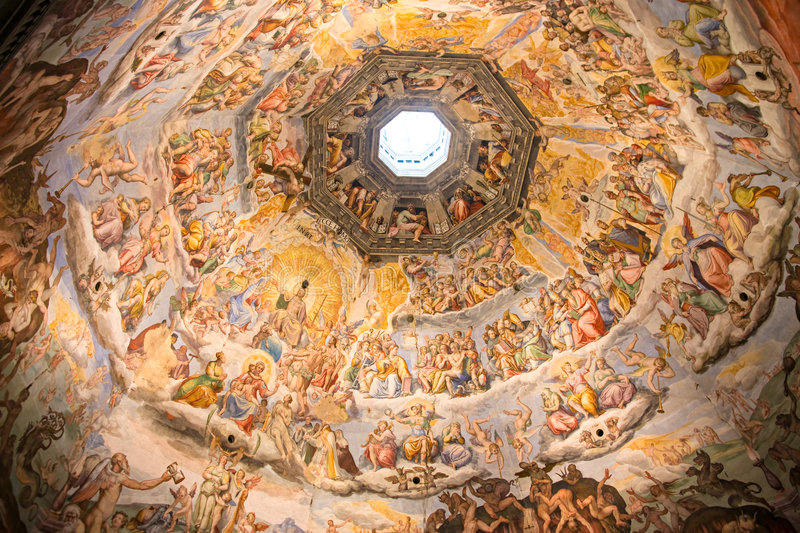 Florence, Painting inside the Duomo. royalty free stock photography