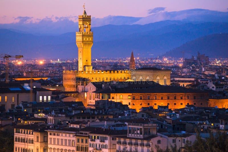 Florence, Palazzo Vecchio, piazza della Signoria. royalty-vrije stock afbeelding