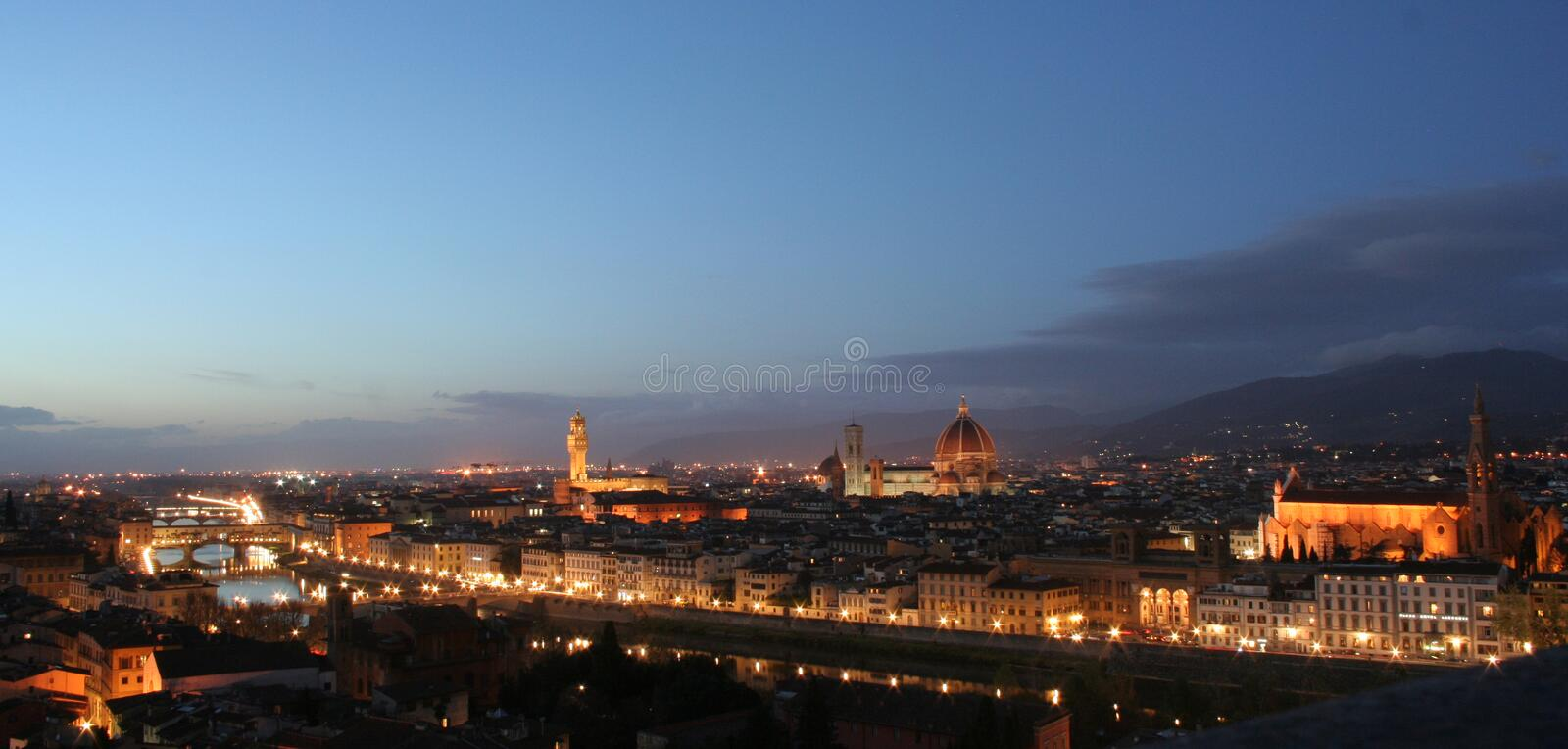 Florence panorama by night royalty free stock images