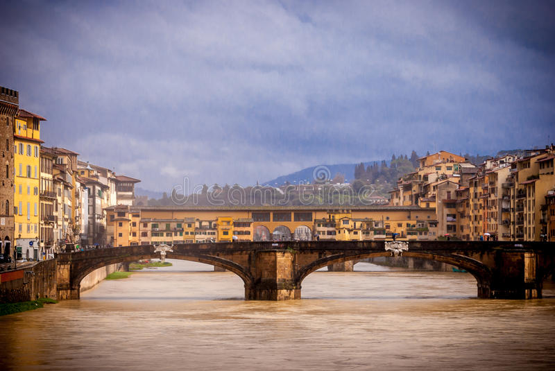 Florence, Panorama With Old Bridge Royalty Free Stock Photo