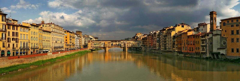 florence panorama- solnedgångsikt royaltyfri fotografi