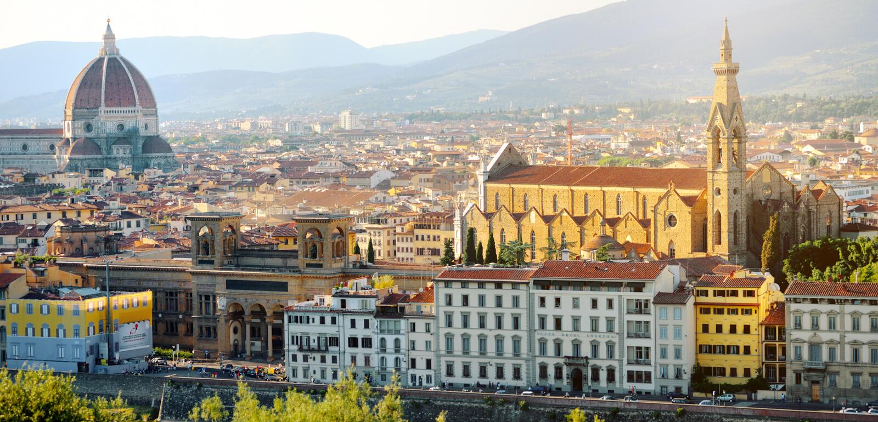 Florence panoramautsikt, Firenze, Tuscany, Italien arkivbilder