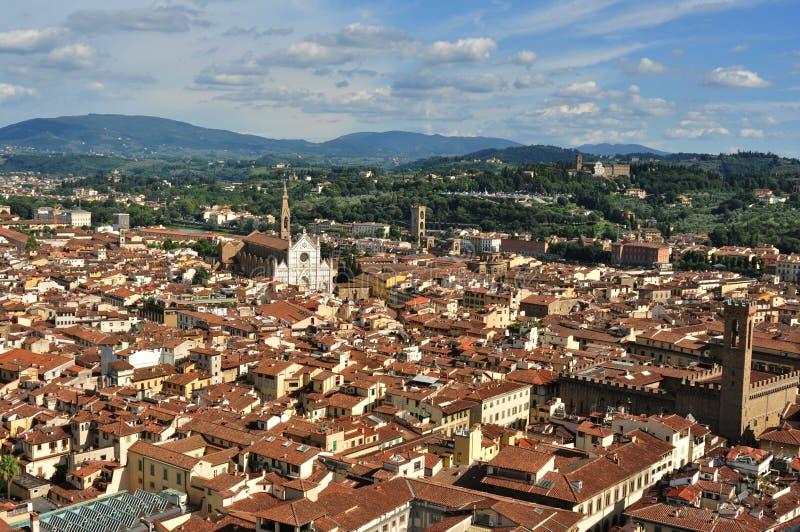 Florence panoramautsikt från duomoen, Italien arkivbild