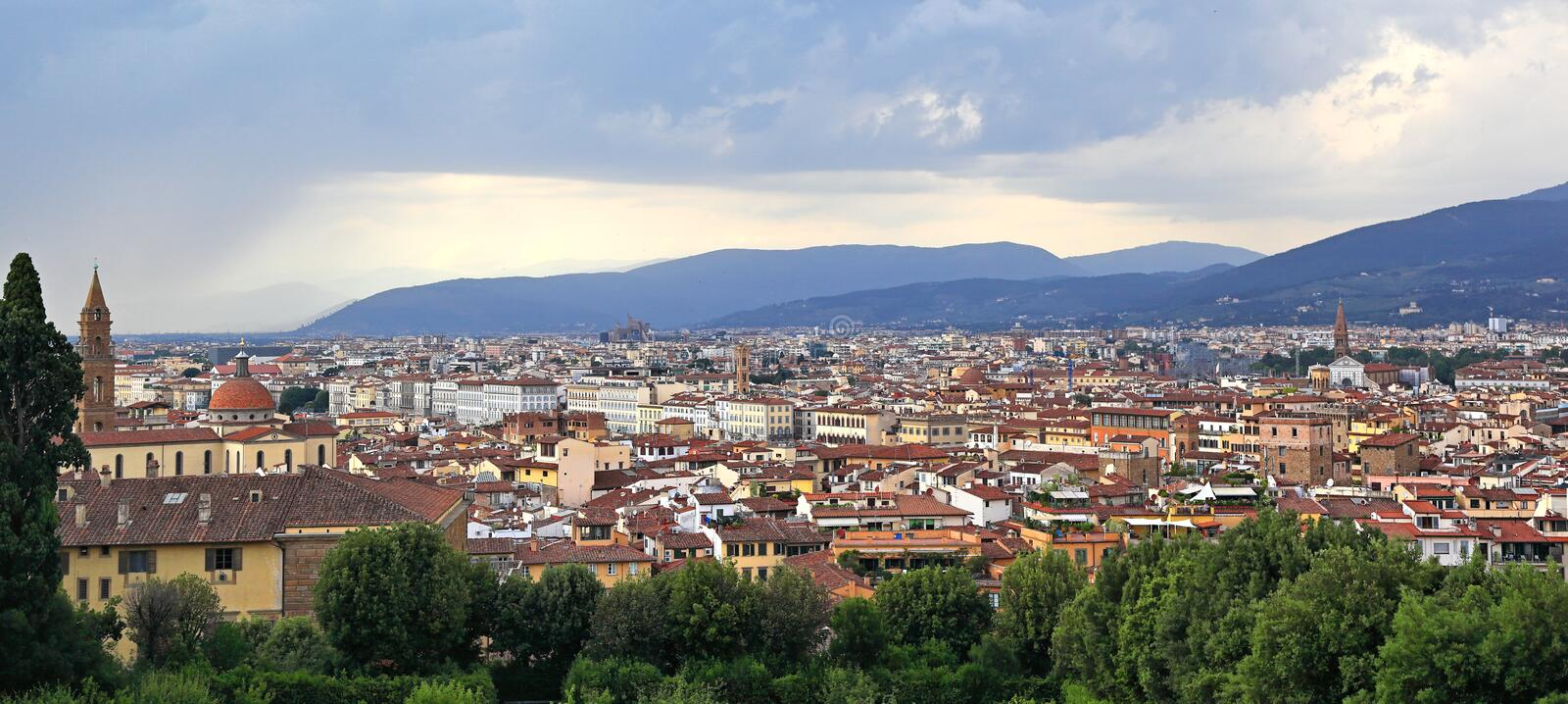 Florence Panoramic View. Panoramic view of the beautiful city on a stormy day stock photo