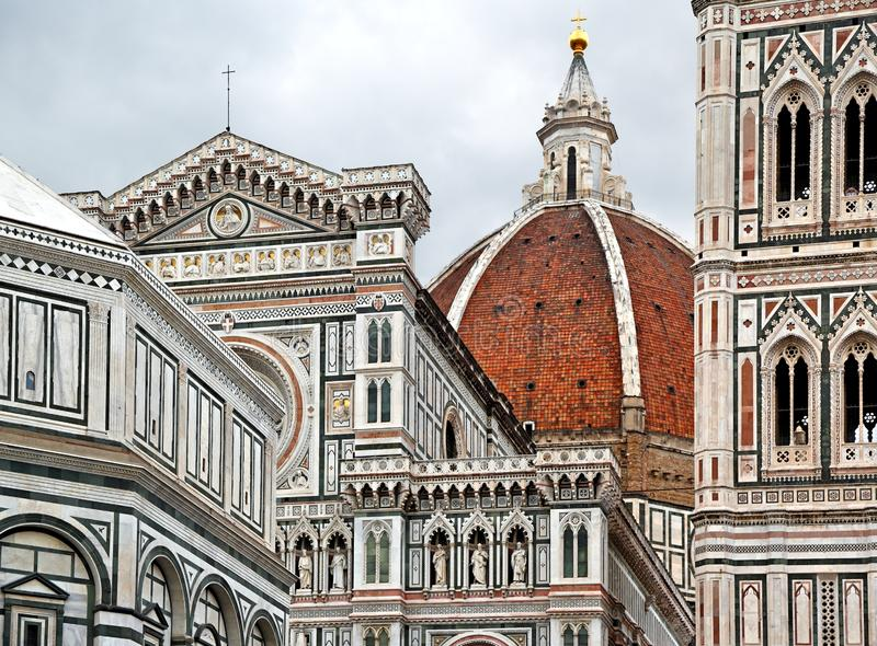 Florence: Piazza del Duomo with the Cathedral of Santa Maria del Fiore. royalty free stock photography