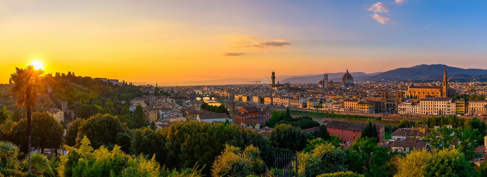 Florence, Ponte Vecchio, Palazzo Vecchio and Florence Duomo, Italy. Panoramic sunset view of Florence, Ponte Vecchio, Palazzo Vecchio and Florence Duomo, Italy stock image