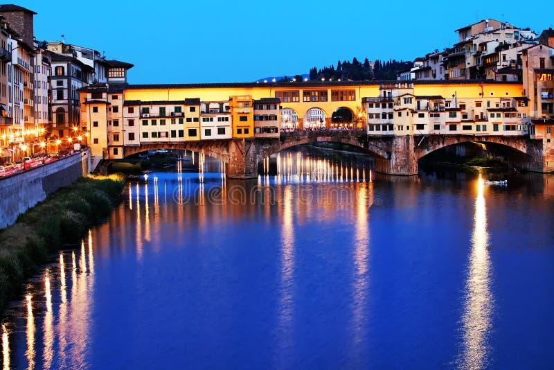 florence ponte zmierzchu vecchio zdjęcie royalty free