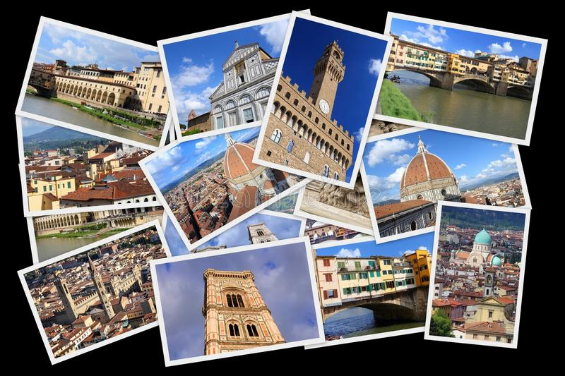 Florence postcard collage royalty free stock images
