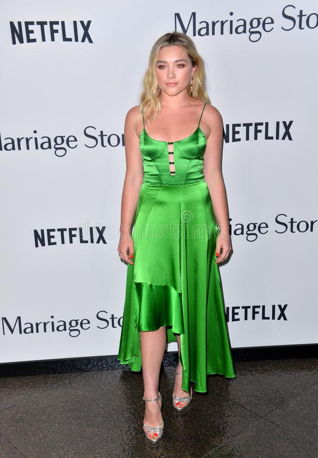 Florence Pugh. LOS ANGELES, USA. November 06, 2019: Florence Pugh at the premiere for Marriage Story at the DGA Theatre..Picture: Paul Smith/Featureflash stock photo