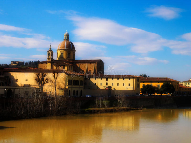 FLORENCE RIVER VIEW WITH CHURCH stock image