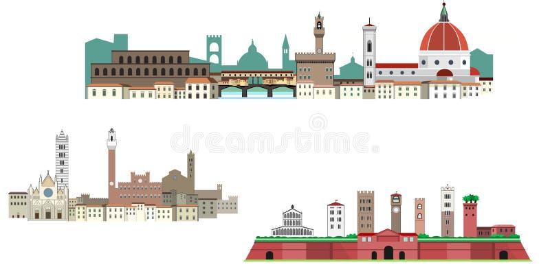 Florence, Siena en Luca in Toscanië royalty-vrije illustratie