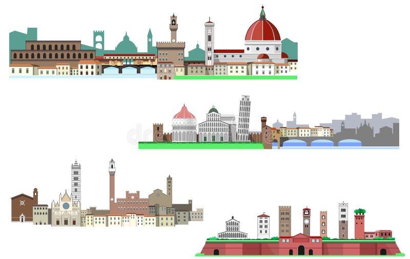 Florence, Siena, Luca en Pisa in Toscanië vector illustratie